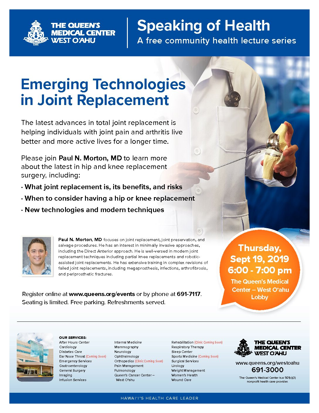 Register for Emerging Technologies in Joint Replacement Event 4