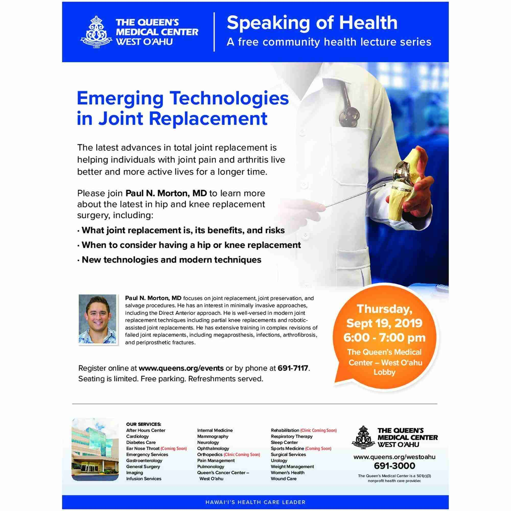 Register for Emerging Technologies in Joint Replacement Event