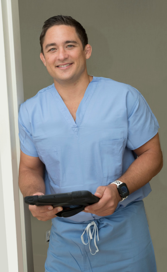 Dr. Morton with a Tablet