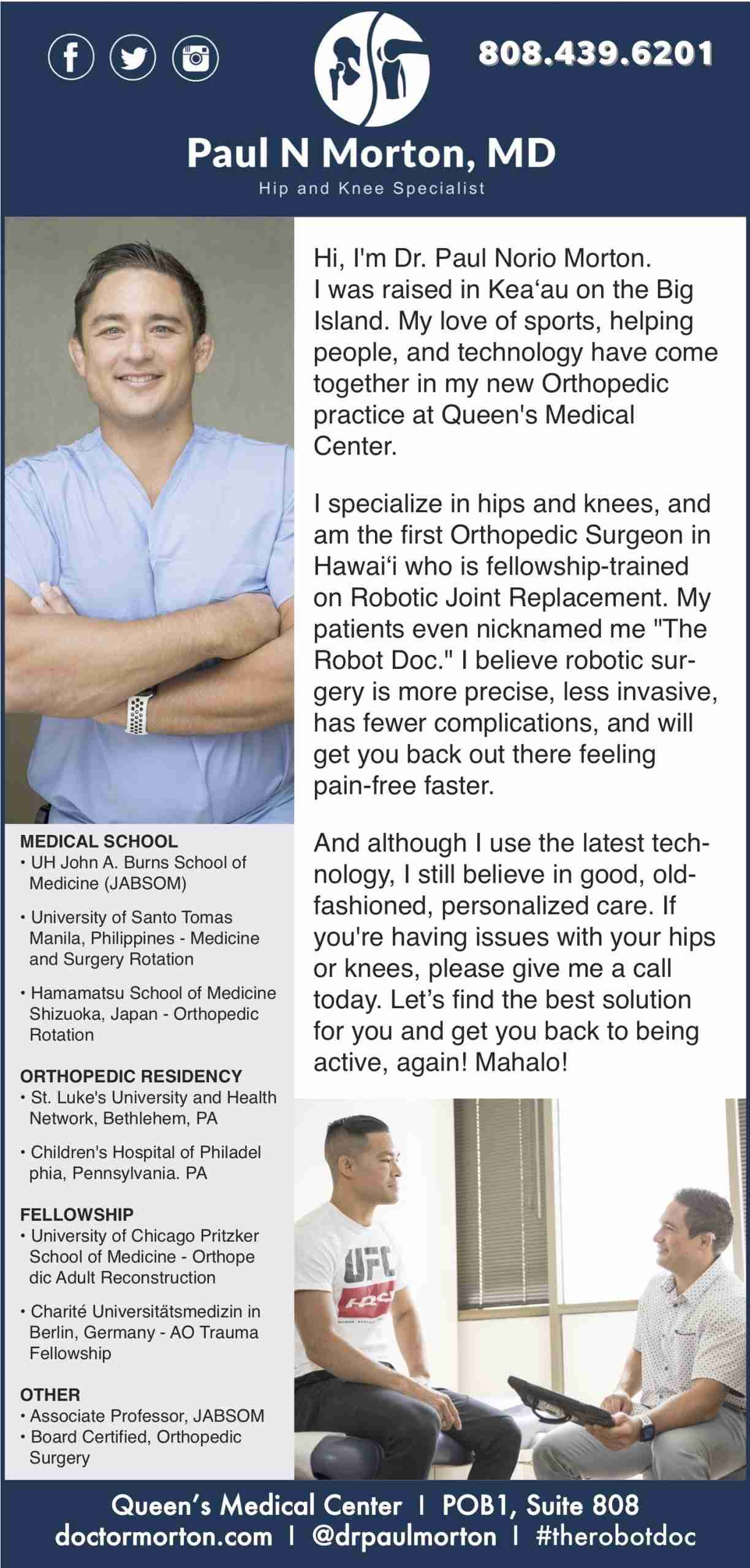 January Midweek Advertisement for Dr. Paul Norio Morton